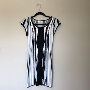 Parker bodycon dress in blue black and white.